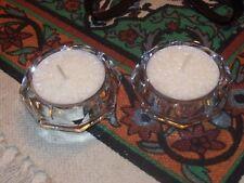 A pair of  Clear Crystal Diamond Cut Glass Tea Light  Holders