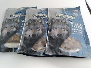 3 Natural Healthy Blue Buffalo Wilderness BITS Dog Treats Chicken RECIPE 4 oz
