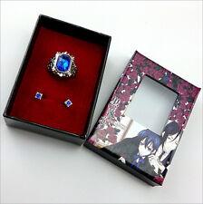 Black Butler Ciel Phantomhive's Blue Diamond Ring + Blue Earrings Kit 3pcs/kit!
