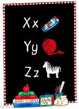 """8"""" RAGGEDY ANN ANDY SCHOOL CHALKBOARD TEACHER  X Y Z  FABRIC APPLIQUE IRON ON"""