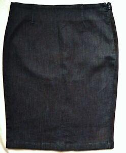 BNWT NEXT tailored smart casual tube denim knee pencil skirt back split stretchy