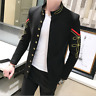Mens Embroidery Collared Jacket Clubwear Stage Shows Blazer Uniform Coat Haihk