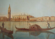 "WATERCOLOR ""VENICE CANAL""  ORIGINAL GOLD FRAME, OLD GLASS CA 1890-1900 ETHEREAL"
