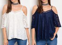 Fluttery Lace Open Cold Shoulder Short Sleeve Blouse Top White / Navy Blue S M L