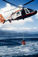 Coast Guard Helicopter During Rescue at Sea Photo Art Print Poster 18x12 inch