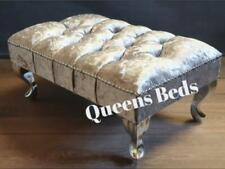 FOOTSTOOL FOOT REST , IN SILVER CRUSH VELVET WITH QUEEN LEGS AND FREE P&P