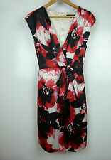 JAYSON BRUNSDON Black Label Dress Sz 10 Cream black red floral print