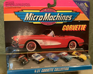 NEW Micro Machines 5-car Corvette Collection #31: '55, '56, Stingray, '78, '84.