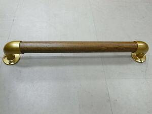 "Grab Bar 1 1/4"" Dia. 18""(L) Walnut Rail With Gold Metal Brackets -New"