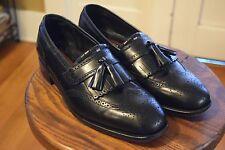 Florsheim Black Leather Sole Wingtip Loafers w/ Tassel Men's 10.5  D Slip On