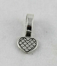 Jewelry Making 100pcs Silver Plate Heart Glue on Bail Charms Pendants