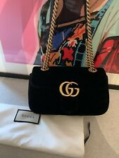 Gucci GG Quilted Marmont Black Velvet Crossbody Chain Shoulder Bag.