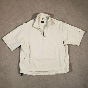 Nike Golf Windbreaker Mens Large White 1/4 Zip Short Sleeve Pullover