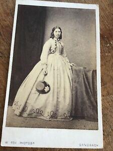 CDV  Society Lady in Summer Crinoline at SANDBACH Cheshire 1860s CDV PHOTO 6/9