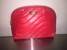 Shiseido red padded leather Cosmetic Makeup Bag Clutch Pouch travel Zipper case