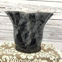 Vintage McCoy Pottery Vase USA 732 Leaf Vase Black Gray Drip Glaze