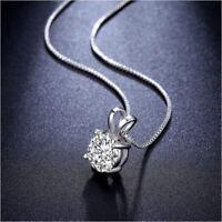 Jewelry 2 Carat Round Cut  Zirconia CZ Solitaire Pendant Neckla