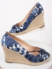 Talbots Women's Espadrille Wedge Sandals Sz 7  Floral Blue Peep Toes Heels shoes
