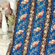 Fabric French Antique blue material floral cretonne fabric Belle Epoque