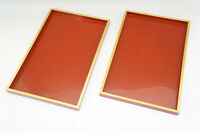 Japan URUSHI Lacquered Wood Tray Pair Gold Lacquered Free Ship 681r20