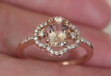 New 10K S7 Natural Pink Morganite & Diamond Flower Halo Engagemen Ring Rose Gold