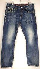 Buckle Rock Revival Joseph Straight Fit Distressed Jeans Men's 36 x 32