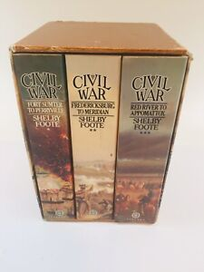 The Civil War - A Narrative by Shelby Foote 3 Volume Box Set Vintage 1986 Books