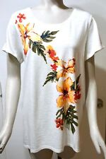NWT $65 Chico's Short Sleeve Alabaster Embellished Tropical Tee Top 3 (XL 16/18)