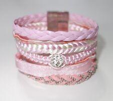 A287 - Wickelarmband - NEU - Rosa Strass Steine Magnet Armband Damen Geschenk