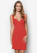 Topshop UK 14 Plunge Ribbed Bodycon Bandage Dress Sweetheart Bust Strappy New