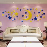 3D Moon and Star Acrylic Decal Vinyl Decor Art Home Living Room Sticker Mural