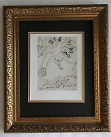 MARC CHAGALL 1963 BEAUTIFUL SIGNED  PRINT MATTED 11 X 14