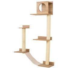 PawHut Wall-Mounted Multi-Level Cat Tree Activity Tower w/ Sisal Scratch Posts