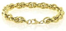 """18K Yellow Gold Plated  Stainless Steel Oval Link Men's Muscular 8.5"""" Bracelet"""