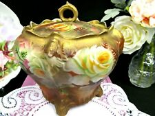German covered Biscuit holder with stunning roses white & yellow rose Germany