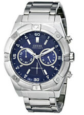 New Guess Men U0377G2 Chronograph Round Blue Dial Stainless Silver Band Watch