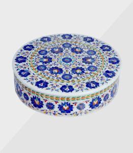 Marmor Dekorativ Schmuckkästchen Inlay Semi Precious Steine Handmade Arbeit