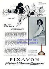 Shampoo Pixavon XL Reklame von 1929 Frau bei Sport Tennis Bucovich 20er Jahre -