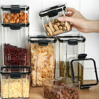 KQ_ Moisture-proof Stackable Transparent Sealed Food Storage Jar Container with