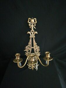 Vintage Wall Sconce 3 Candle Holder with MISSING Prisms Ornate Peacock Heads