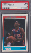 1988-89 Fleer #43 Dennis Rodman Rookie RC Mint PSA 9 Chicago Bulls