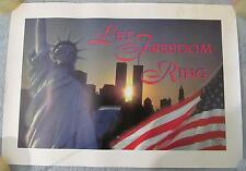 """Let Freedom Ring - Twin Towers, Statue of Liberty Poster, 23""""x16"""""""