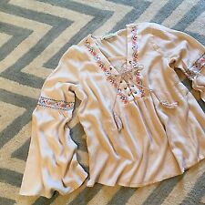 L New Anthropologie Women's Gauze Tassel Tie Peasant Gypsy Boho Blouse Top LARGE
