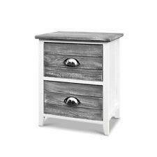 Artiss ST-CAB-2D-VIN-GYX2 2 Drawer Nightstand Bedside Table - Grey (Pack of 2)