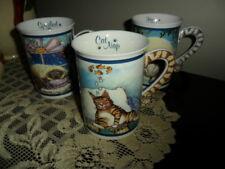 Cat Mugs 3 Danbury Mint, Gary Patterson Comical Cats Porcelain Collector Mugs