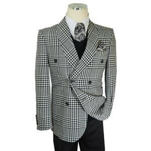 Extrema Black / White Neo-Houndstooth Cotton Double Breasted Classic Fit Suit