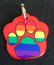 Rainbow Gay Pride PAW print PET ID Tag (2-Sided) - FREE & FAST SHIPPING!