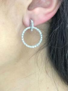 14k White Gold Genuine Diamonds 1.04ct G/VS1 Unique Halo Circle Drop Earrings