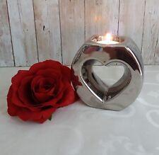 Teelichthalter  Kerzenhalter  Kerzenständer silber Herz Keramik