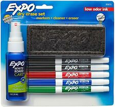 Expo Low Odor Dry Erase Marker Set With White Board Eraser And Cleaner Fine Tip